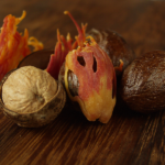 Скорлупа и плоды душистого мускатника